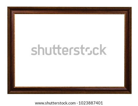 classic dark brown painted wooden picture frame with cut out canvas isolated on white background