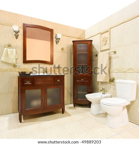 Bathroom Design Gallery on Classic Design Bathroom With Brown Wood Cabinet Stock Photo 49889203