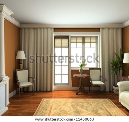 Stock photo classic design interior of living room 3d render
