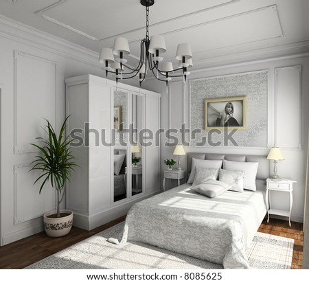 Classic Design Of Interior. Bedroom. 3d Render. Illustr