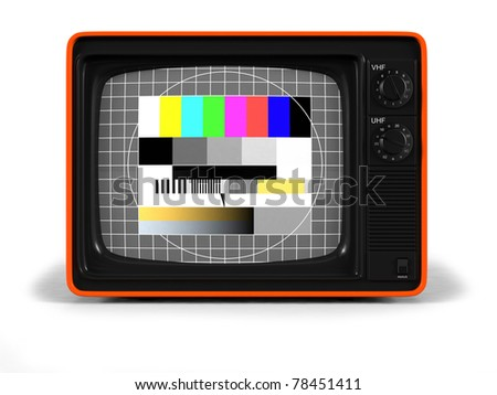 Classic Design Retro TV with orange plastic shell and test image screen / Retro TV / on white with soft shadow