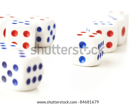 classic dice isolated on a white background