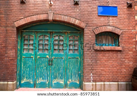 classic door and window on brick background