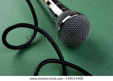 Classic dynamic microphone on a green background