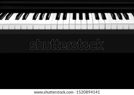 Classic ebony piano music instrument with white and black keys for musician play jazz and acoustic music sound live in concert or hobbies and leisure in cozy home at weekend