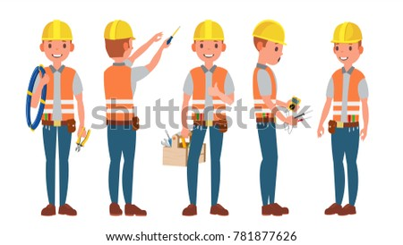 Classic Electrician. Different Poses. Working Man. Isolated Flat Cartoon Character Illustration