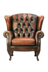 Classic Elegant Chesterfield leather sofa seat isolated on white background ; retro furniture