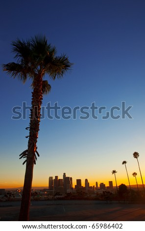 Classic evening view of downtown Los Angeles.