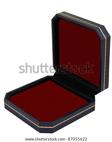 classic expensive opened dark blue lather with golden ornament case black interior isolated over white