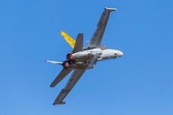Classic F-18 Hornet fighter jet on display with Tiger tail paint scheme.