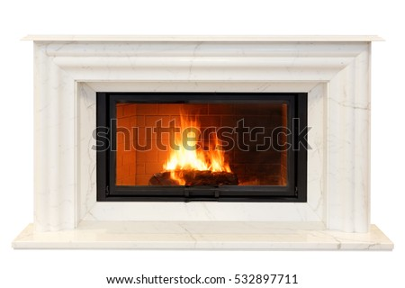 classic fireplace of white Italian marble. Isolated on white #532897711
