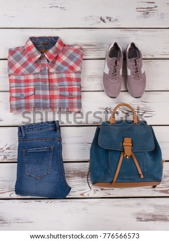 Classic flannel shirt and jeans. Good pairing of plaid pattern and denim texture. Garments and accessory from summer collection. #776566573