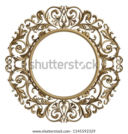 Classic frame circle with ornament decor isolated on white background. Digital illustration. 3d rendering