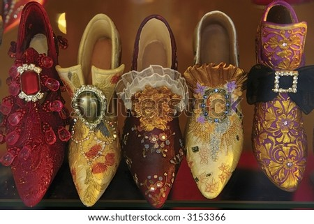 Classic French ladies souvenir brocade  shoes - boutique window in Paris