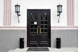 Classic front door with double glazing and two large front lights. Porch