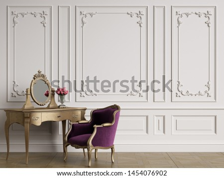 Classic furniture in classic interior with copy space.Walls with ornated mouldings.Digital Illustration.3d rendering