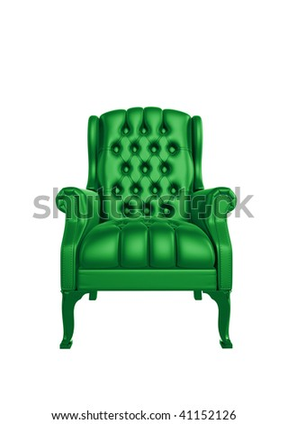Classic glossy green chair, isolated on a white background #41152126