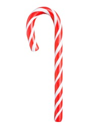 Classic glossy red and white christmas candy cane isolated on white background