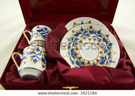 Classic gold-rimmed bone china coffee cups with saucers in gift box from Turkey