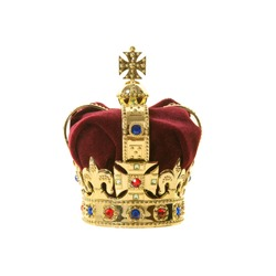 Classic golden an red velvet crown isolated on a white background
