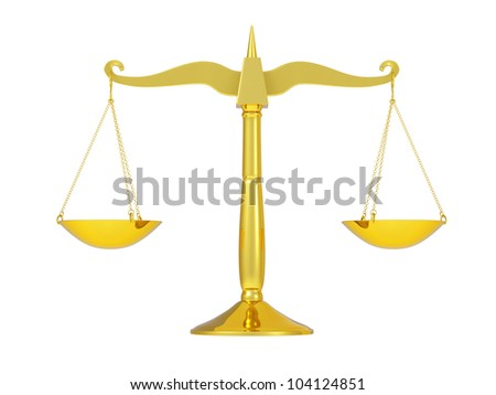 classic golden scales of justice, isolated on white background