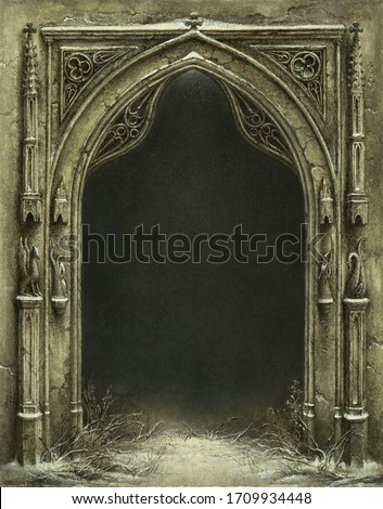 Classic Gothic arch with a dark background behind, acrylic on paper. Zdjęcia stock ©