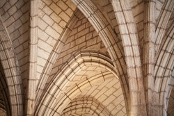 Classic Gothic arched vault structure, abstract architectural background photo