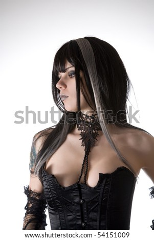 Classic gothic girl portrait, studio shot over white background