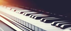 Classic grand piano keyboard close-up