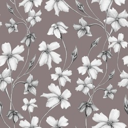 Classic graphic floral seamless pattern. Different Hand drawn black and white pencil drawing twigs with abstract flowers and buds on beige background. Beautiful meadow design element.
