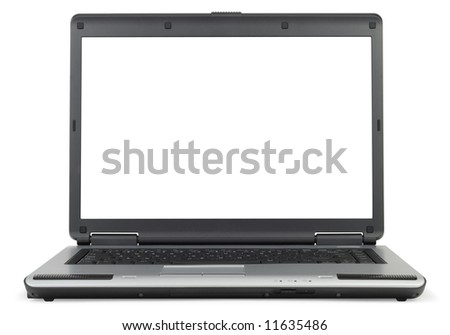 Classic gray laptop isolated with clipping path over white background