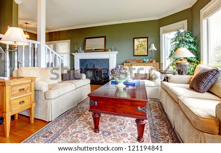 Classic  green living room with nice furniture, fireplace  and many windows.