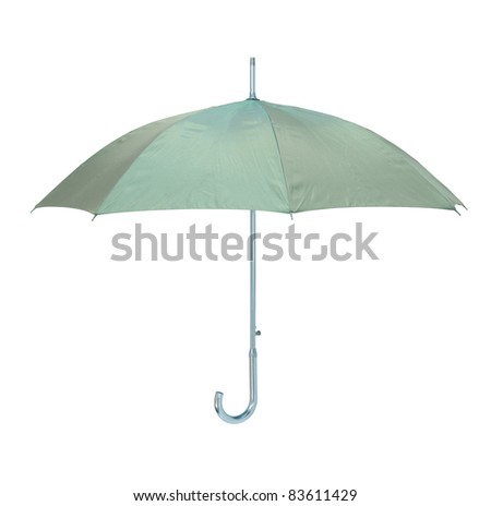 Classic green umbrella isolated over white background