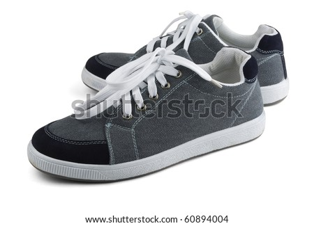 Classic grey sneakers isolated on white