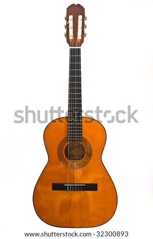 classic guitar on white background