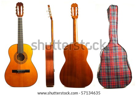 classic guitar on white background - stock photo