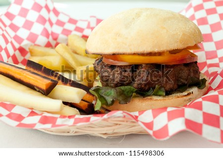 classic hamburger and french fries, but healthy with hand cut potatoes and fresh italian bread and lean ground beef