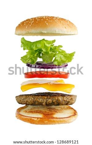 Classic hamburger ingredients, isolated on white