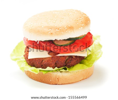 Classic hamburger with tomato and lettuce isolated on white background
