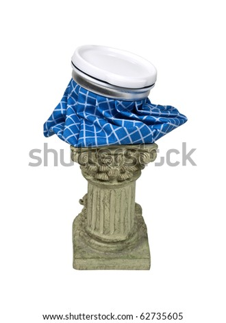 Classic hangover remedy shown by an ice pack on a classical stone pedestal - Path included