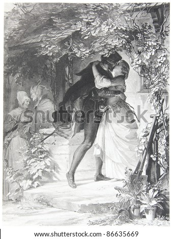 Classic illustration depicting Faust is falling in love with Gretchen, drawn by August von Kreling in Wolfgang von Goethe's