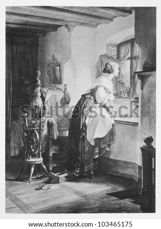 """Classic illustration depicting Gretchen is longing for her lover, drawn by August von Kreling in Wolfgang von Goethe's """"Faust"""", published in Munich, 1874"""