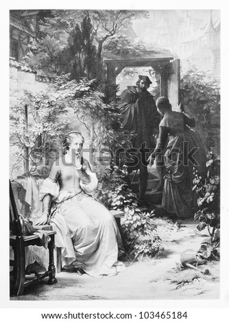 "Classic illustration depicting Gretchen is waiting for Faust at Marthe' backyard garden, drawn by August von Kreling in Wolfgang von Goethe's ""Faust"", published in Munich, 1874"