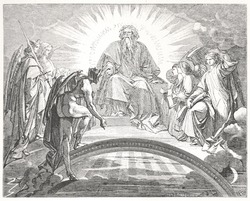 Classic illustration depicting Mephisto in front of God and the three archangels, drawn by August von Kreling in Wolfgang von Goethe's