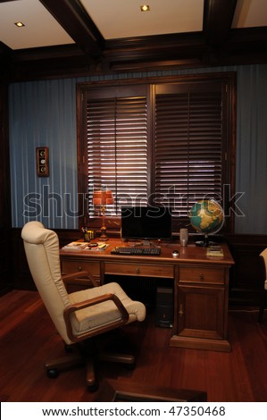 Classic interior design of cabinet boss room