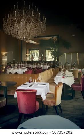 classic interior in France restaurant - stock photo