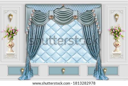 Classic interior wall with moldings.Herringbone parquet wallpaper .Digital illustration 3d rendering