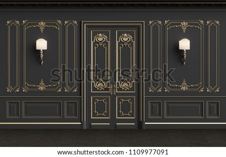 Classic interior walls with copy space.Walls with mouldings,ornated cornice. Floor parquet herringbone.Classic door with decoration.Sconces on the wall.Digital Illustration.3d rendering