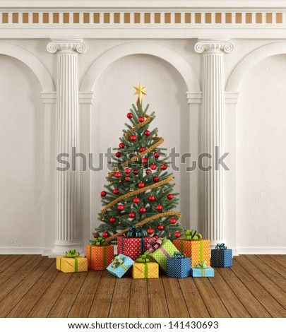 Classic interior with christmas-tree and colorful gift - rendering