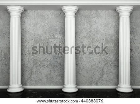 Classic interior with column. 3d rendering